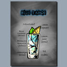 DRINKS AND COCKTAILS Metal Poster Wall Art TAHOE BLUE
