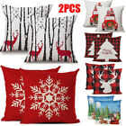 Christmas 2PCS Linen Cushion Cover Striped Welcome Throw Pillow Case Home Soft image