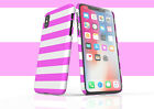 Iphone Snap Case Pink n White Stripes iPhone 11, Pro, Pro Max, Xs Max, Xr, X, 8