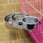 Stainless Steel Hang-on Bowls Metal Dog Crate Cage Food Water Bowl Animal Run