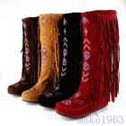 Fringe Tassel Womens Embroidery Moccasin Mid-Calf Knee Boots Hidden Wedge Suede