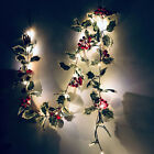 UK Xmas Red Berry LED Fairy String Lights Christmas Rattan Garland With Lamps