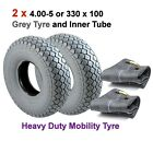 Pair of 4.00-5 or 330 x 100 Grey Mobility Scooter Tyres with Inner Tubes