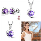 Classic Crystal Heart  Sterling Silver Jewellery Gift Set