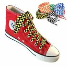Two-color Checkered Flat Shoelaces Plaid Shoe Lace for Casual Shoes 47 / 55Inch