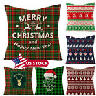 Christmas Soft Waist Cushion Cover Textured Linen Pillow Cases Xmas Sofa Couch image