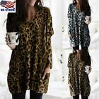 Womens Leopard Print Pocket Tunic Tops Casual Loose Round Neck Blouse Pullover