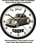 1937 FORD COUPE WALL CLOCK-FREE USA SHIP!