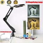 2.5X/5X Desk Magnifying Lamp W/ Clamp Craft Glass Loupe Lab Work Light Magnifier