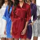 1 Pc Women Satin Robe Bathrobe Nightgown Halt Sleeve Pajamas Lingerie Night Mini