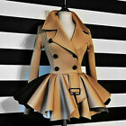 Womens Double Breasted Lapel Coat Tops Ladies Trench Ruffle Jacket Coat Outwear