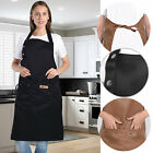 Work Apron Adjustable Canvas Chef Aprons Pocket Kitchen Restaurant Shop Workwear