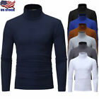USA Mens Turtleneck Long Sleeve Tops T-Shirt Roll Neck Stretch Blouse Pullover image