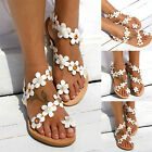 Women Summer Sandals Rhinestone Flowers Diamante Boho Flat Shoes Flip Flop Size