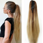 20 claw clip ombre long straight ponytail hair extensions synthetic hairpiece