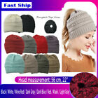 Womens Beanie Tail Messy Bun Hat Ponytail Stretchy Knitted Crochet Skull Cap