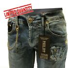 Philipp Plein Collection Men Stretch Jeans with Chain MSRP $395