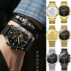 Classic Men's Retro Gold Plated Crystal Business Casual Quartz Wrist Watch New image