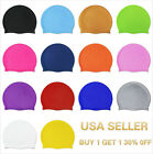 Kyпить Silicone Swimming Cap Solid Color Long Hair Clean Swim Pool For Adult Men Women на еВаy.соm