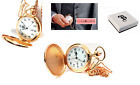 Pocket Watch rose gold mens Date Pocket Watch on 12 Inch Chain Boxx image