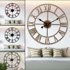 3D 15.75'' Vintage Metal Roman Number Retro Wall Clock Hollow Iron Mute Watch