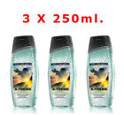 "AVON X 3 Senses For Men ""X-TREME"" Shower Gels, 3 X 250ML.Each,New,Gift Set"