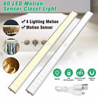 60 LED USB Rechargeable Motion Sensor Closet Lights Wireless Under Cabinet Light