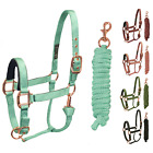 Derby Rose Gold Adjustable Nylon Horse Stable Halter & Lead One Year Warranty