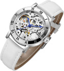 Women's Steampunk Automatic Mechanical Watch, Genuine Leather Band Strap
