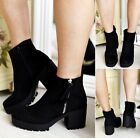 WOMENS LADIES ANKLE BLOCK CHUNKY PLATFORM CHELSEA MID HEEL ZIP BOOTS SHOES SIZE