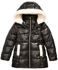 New Michael Kors Big Girls Faux-Fur-Trim Hooded Shiny Puffer Jacket Coat