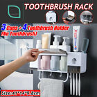 Toothpaste Dispenser Toothbrush Holder Bathroom Wall Mount Stand Storage Rack