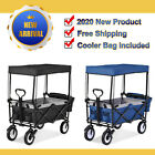 Garden Cart with Romovable Canopy Foldable Trolley Cup Holder,Cooler Bag Camping