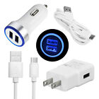For Moto G7 Power G6 Plus Z4 Z3 Play Fast Dual USB Car Wall Charger Type C Cable