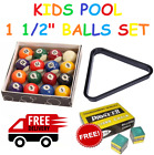 "KIDS SPOTS & STRIPES 1 1/2"" INCH (38mm) POOL BALLS SET WITH FREE CHALK £19.99 GBP on eBay"