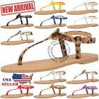 NEW Women's T Strap Thong Gladiator Strappy Jelly Shiny Flat Flip Flops Sandals