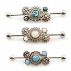 Industrial Barbell Ear Jewelry Steampunk With Opalite Stone 14g 38mm