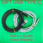 10FT Aluminium USB-C Type-C 3.1 Data Sync Charging Cable S8,S9 Nylon Braided