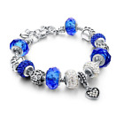 Crystal Heart Charm Bracelets For Women European Style Silver Blue Gift For Her