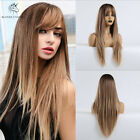 Ombre Blonde Women Natural Hair Wigs Long Synthetic Straight Heat Resistant Wig