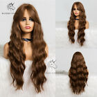 28in Ombre Brown Wavy Curly Women Wigs With Bangs Long Synthetic Daily Party Wig