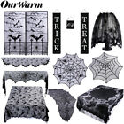 Black Lace Spider Web Table Cloth Ghost Prop Pumpkin String Light Halloween Deco