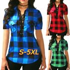 2018 Plus Size Summer Women Fashion Sexy V-neck Lace Up Plaid Blouse Tops Irregu