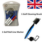Golf Ball Line Marker with Club Brush Stamp Drawing with 3 Pens Alignment Set UK