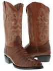 Men's Cognac Alligator Belly Design Leather Cowboy Boots Western Pointed Toe