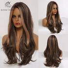 Fashion Women Wigs Brown Mixed Blonde Highlights Ombre Synthetic Cosplay Wig
