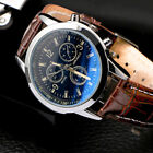 2020 Men's Leather Military Casual Analog Quartz Wrist Watch Business Watches image