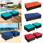 2pc Patio Pe Rattan Sofa Ottoman Footstool Sectional Couch Outdoor Furniture
