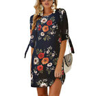 Womens Floral Long Tops Blouse Ladies Summer Beach Holifay Tunic Dress Plus Size