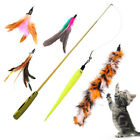 BP_ EE_ Funny Cat / Kitten Pet Teaser Feather Wire Chaser Pet Toy Wand Beads Pla